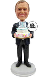 Black Suit Man Birthday Cake Topper Bobble Head