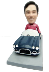 Bobble Man With Blue Car