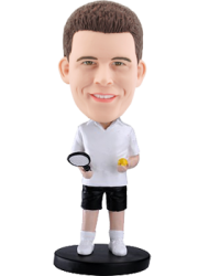 Personalized bobblehead White t-shirt tennis