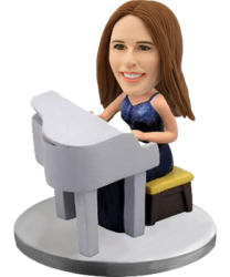 Customized bobblehead Woman Piano
