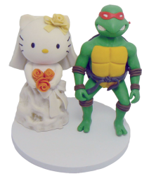 Hello Kitty and Ninja Turtles Wedding Cake Topper