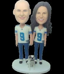 Football Fan Couple Bobbleheads