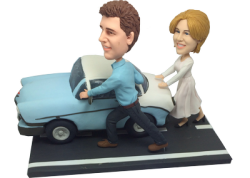 Couple Pushing Car Bobbleheads