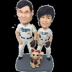 Baseball Fan Couple Bobbleheads