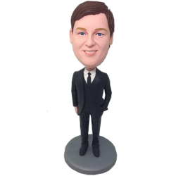 Black Tie Groomsman Bobble Head