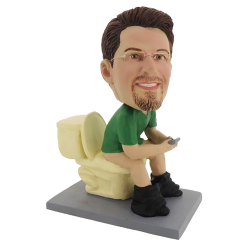 Bobblehead Man on Closestool