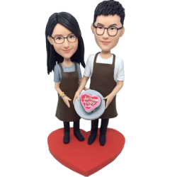 Cooking Couple Wedding Bobbleheads