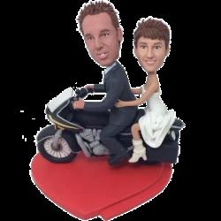 Couple on Motorbike Wedding Bobbleheads