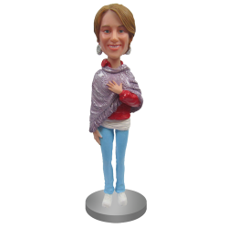 Custom Bobblehead In Poncho and Jeans