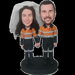 Custom Engineer Couple Bobbleheads