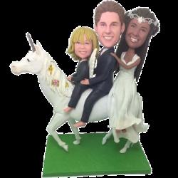 Family on Unicorn Bobbleheads