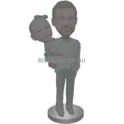 Father Holding Daughter Bobbleheads