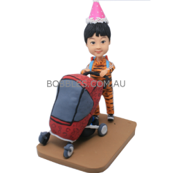Girl Pushing Baby Buggy Custom Bobble