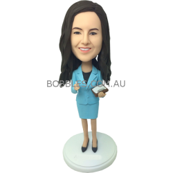 Light Blue Suit Lady Bobblehead