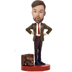 Man with Teddy Bobble Head