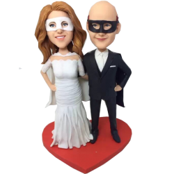 Mask Couple Wedding Bobbleheads