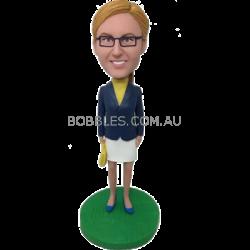 Personalized Skirt Suit Girl Bobblehead
