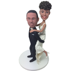 Piggybacking Couple Wedding Bobbleheads