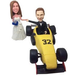Racing Car Couple Bobbleheads