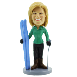 Skiing Woman Bobblehead