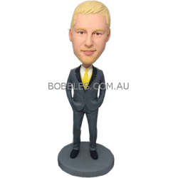 Yellow Tie Groomsman Bobblehead