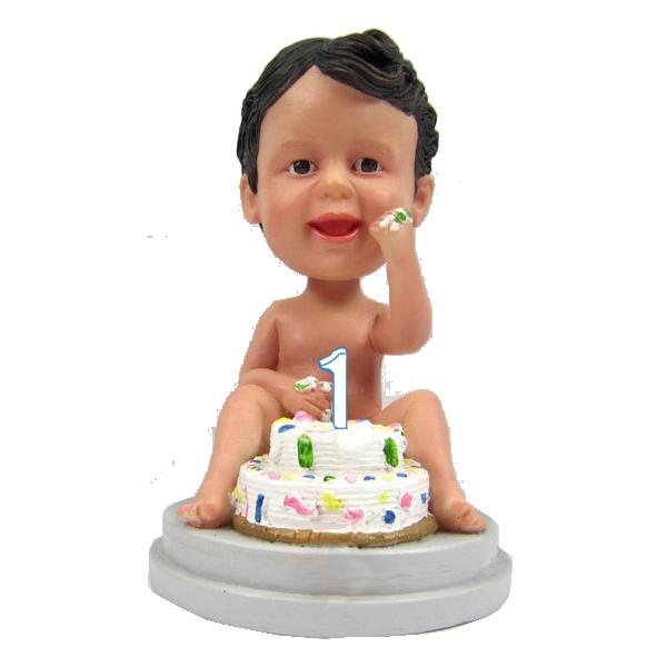 1t Year birthday bobble head cake topper