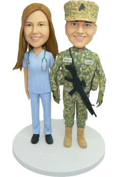 Army and Nurse Custom Wedding Cake Topper
