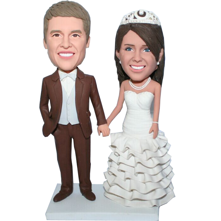 Brown Suit Wedding Bobbleheads