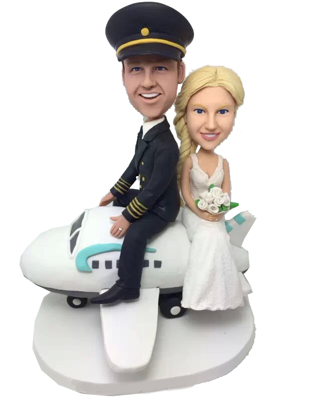 Couple on Plane Wedding Cake Topper