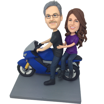 Couple on Motorcycle Bobble Heads