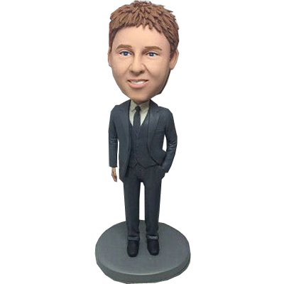 Dark Grey Suit Groomsman Bobble Head