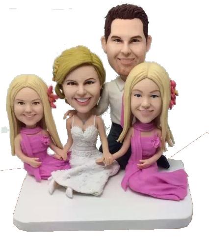 Family Wedding Bobblehead Cake Topper