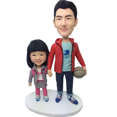 Father and Daughter Bobbleheads