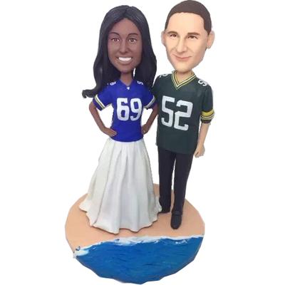 Football Fan Beach Wedding Bobbleheads
