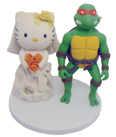 Hello Kitty and Ninja Turtles Wedding Cake Topper