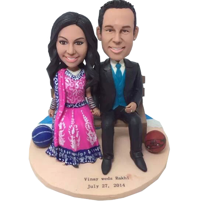 Indian Style Basketball Couple Bobbleheads