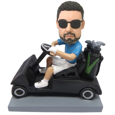 Man in Golf Car Custom Bobblehead