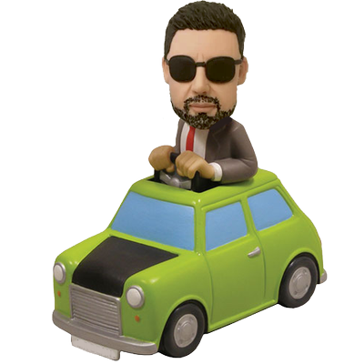 Man in Green Car Custom Bobblehead