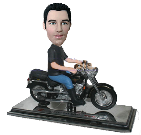 Man on Harley Davidson Bobblehead