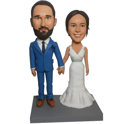 Navy Suit Groom Wedding Bobbleheads