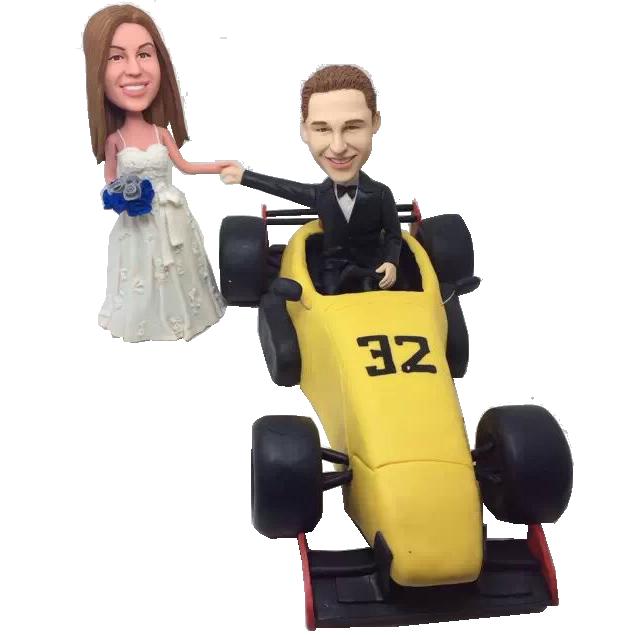 Racing Car Couple Bobbleheads