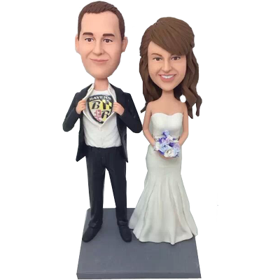 Super Football Fan Wedding Cake Topper