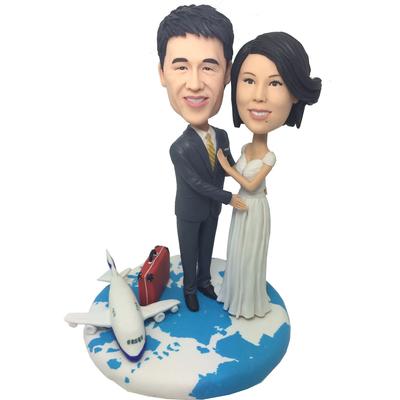 Travel Around The World Wedding Cake Topper