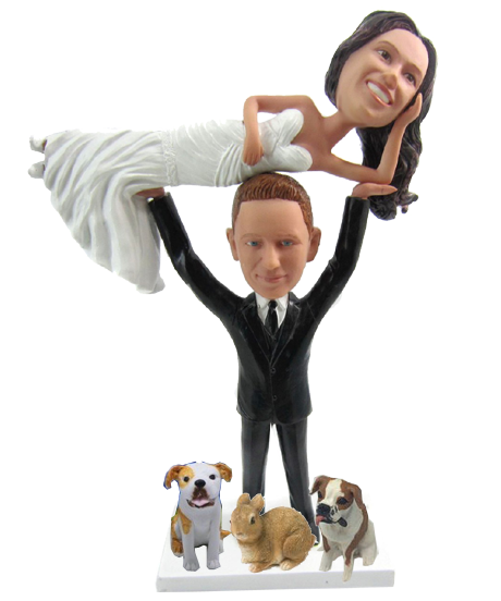 Weight Lifter Wedding Cake Topper with pets