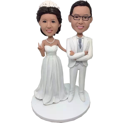 White Suit Wedding Bobbleheads