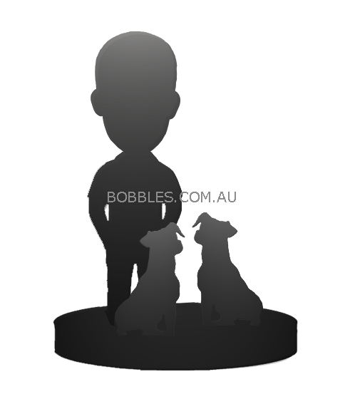 one person and two dogs bobblehead