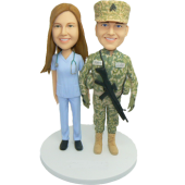 Army and Nurse Custom Wedding Cake Topper