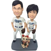 Baseball Fan Couple Bobbleheads