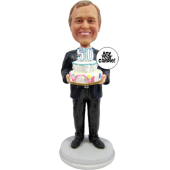 Black Suit Man Birthday Cake Topper Bobble Head