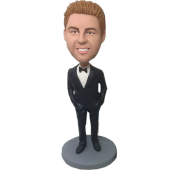 Black Suit Personalized Bobblehead